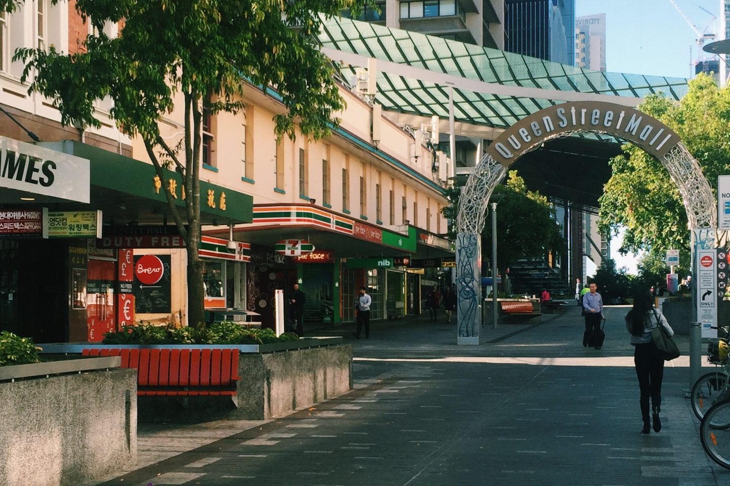 The Queen Street Mall in Brisbane, Australia